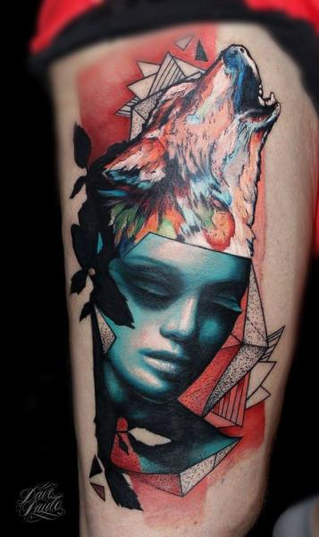 Wolf Thigh Abstract Woman Tattoo by Dave Paulo