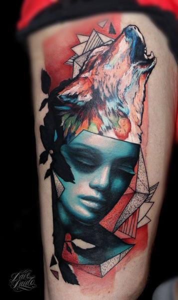 Wolf Oberschenkel Abstrakt Frau Tattoo von Dave Paulo