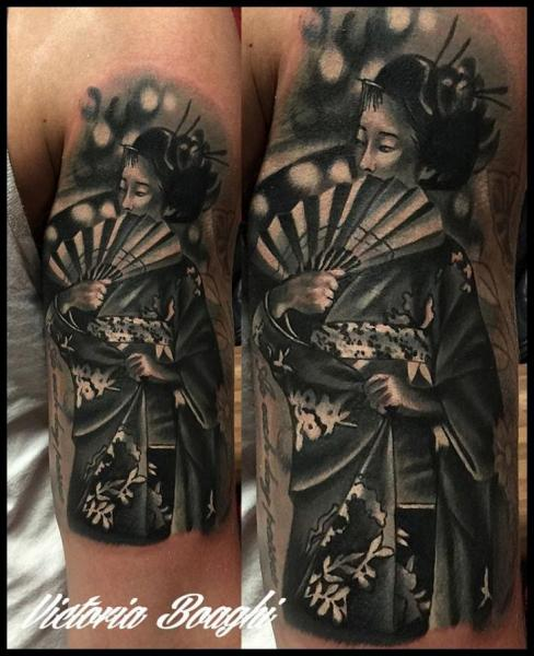 Arm Japanese Geisha Tattoo by Victoria Boaghi