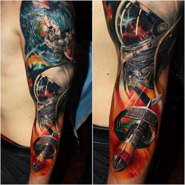 Astronaut Sleeve Space Tattoo by Carlox Tattoo
