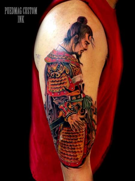 Shoulder arm samurai tattoo by puedmag custom ink tattoos for Custom ink tattoos