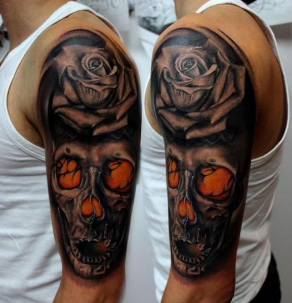 Schulter blumen totenkopf tattoo von puedmag custom ink for Custom ink tattoos
