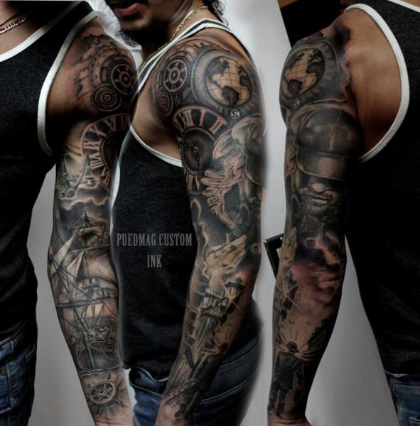 gear realistic galleon sleeve tattoo by puedmag custom ink tattoos. Black Bedroom Furniture Sets. Home Design Ideas