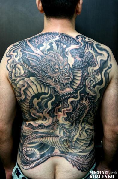 Back Dragon Tattoo by Kipod Studio