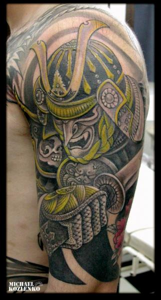 Shoulder Japanese Samurai Tattoo by Kipod Studio
