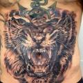 Realistische Tiger Bauch tattoo von Kwadron Tattoo Gallery