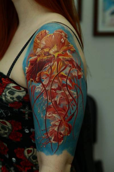 Shoulder Jellyfish Tattoo by Kwadron Tattoo Gallery