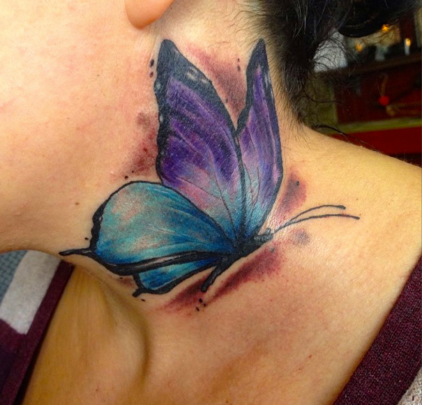 Butterfly Neck Water Color Tattoo by Sacred Art Tattoo