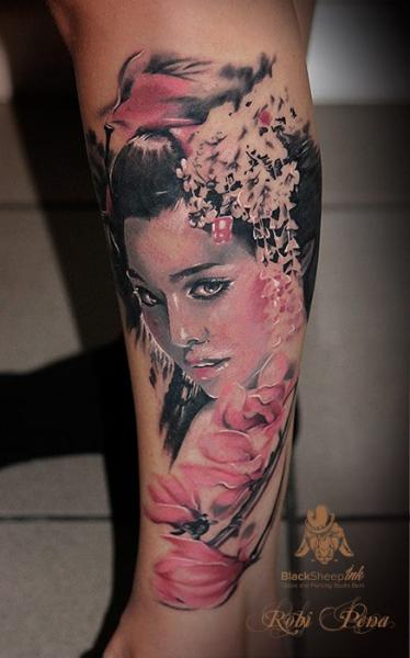 Calf Flower Japanese Geisha Tattoo by Blacksheep Ink