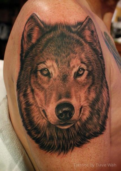Shoulder Realistic Wolf Tattoo by Dave Wah