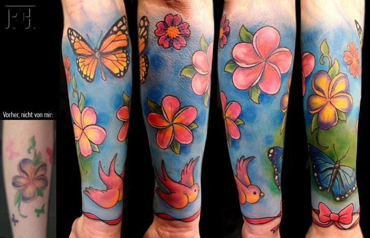 Arm Flower Butterfly Bird Tattoo by Signs and Wonders