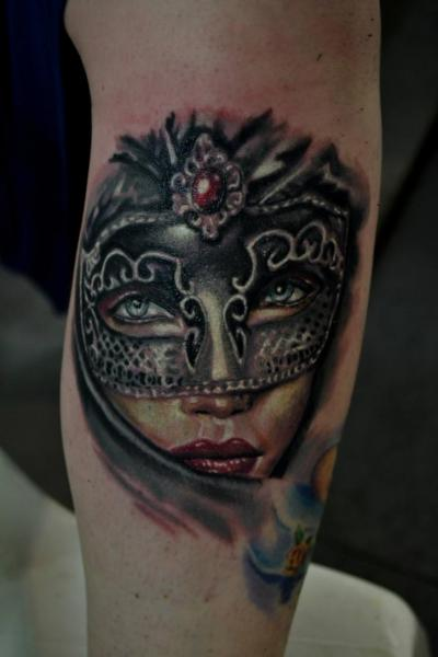 Arm Women Mask Tattoo by Silence of Art Tattoo Studio