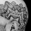 tatuaż Głowa Dotwork przez Silence of Art Tattoo Studio
