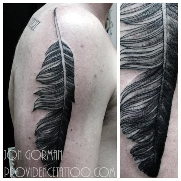 Shoulder Feather Tattoo by Providence Tattoo studio