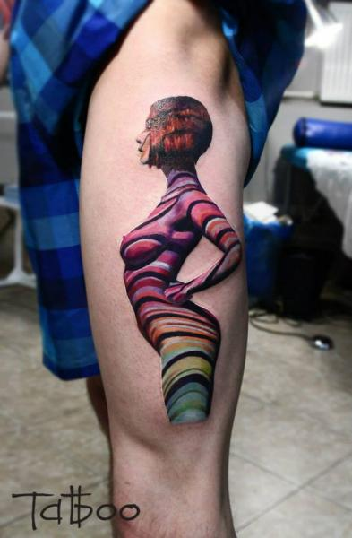 Fantasy Leg Women Tattoo by Valentina Riabova