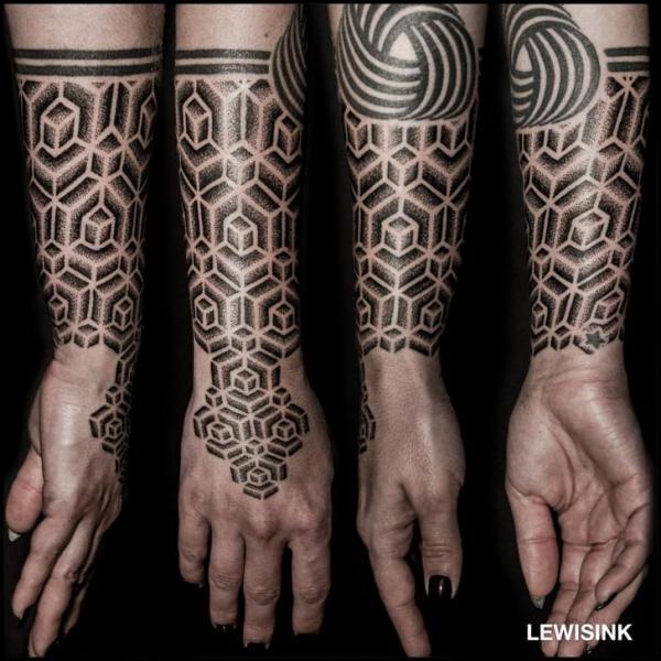 Arm hand dotwork tattoo von lewis ink for Hand arm tattoo