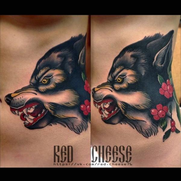 Wolf Tattoo by Davidov Andrew