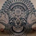 Chest Cat Dotwork Geometric tattoo by Vienna Electric Tattoo