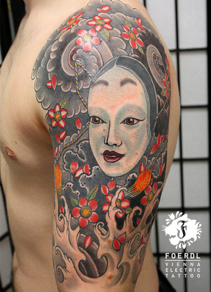 Shoulder Japanese Geisha Tattoo by Vienna Electric Tattoo