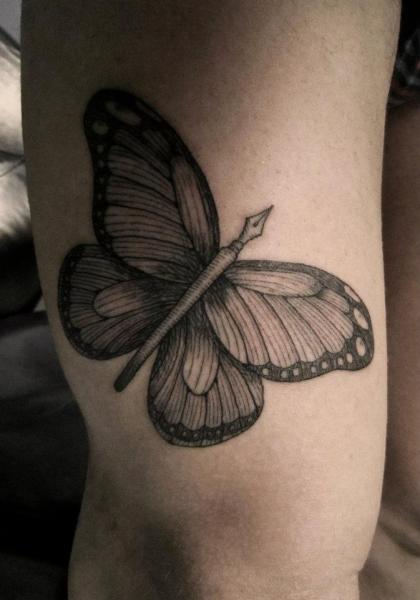 Butterfly Thigh Tattoo by Ottorino d'Ambra