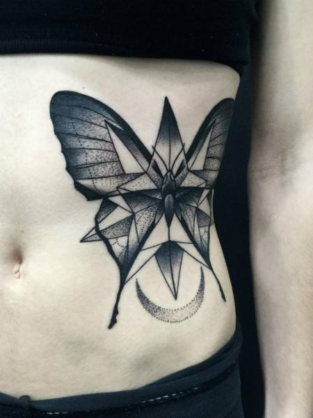 Side Butterfly Dotwork Tattoo by Michele Zingales