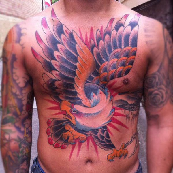 Chest Old School Eagle Belly Tattoo by Sacred Tattoo Studio
