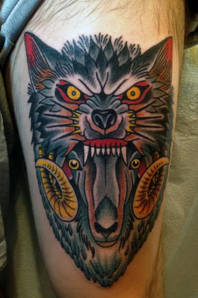 New School Wolf Goat Thigh Tattoo by Captured Tattoo