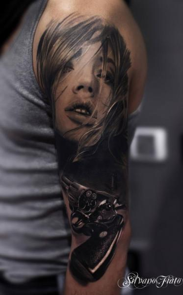 Arm Realistic Women Gun Tattoo by Silvano Fiato