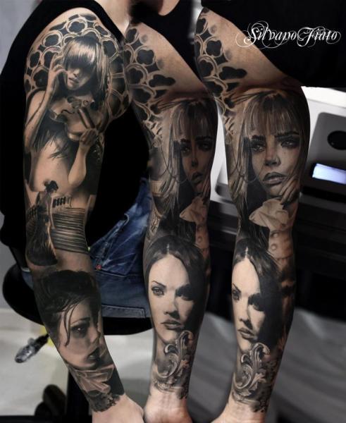 Arm Portrait Realistic Women Tattoo by Silvano Fiato
