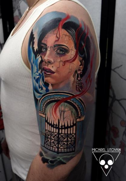 Shoulder Arm Women Gate Tattoo by Michael Litovkin