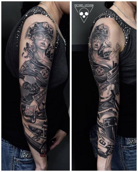 frauen auto sleeve tattoo von michael litovkin. Black Bedroom Furniture Sets. Home Design Ideas