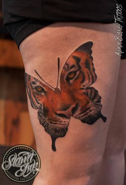 Butterfly Tiger Thigh Tattoo by Slawit Ink
