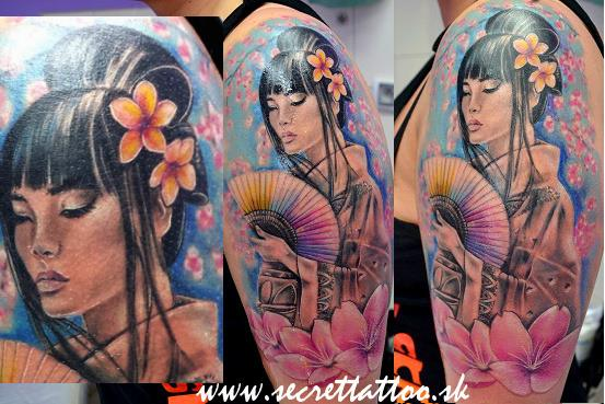 Shoulder Japanese Geisha Tattoo by Secret Tattoo & Piercing