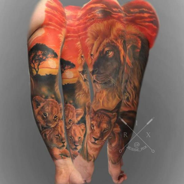 Realistic Lion Sleeve Tattoo by Jesse Rix Tattoo Art