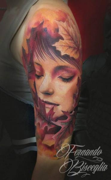 Arm Realistic Women Leaf Tattoo by Forever Tattoo