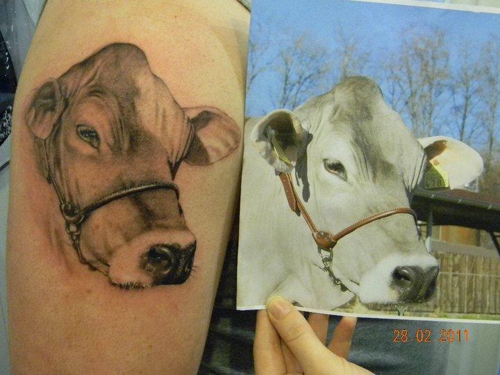 arm realistische kuh tattoo von  skin