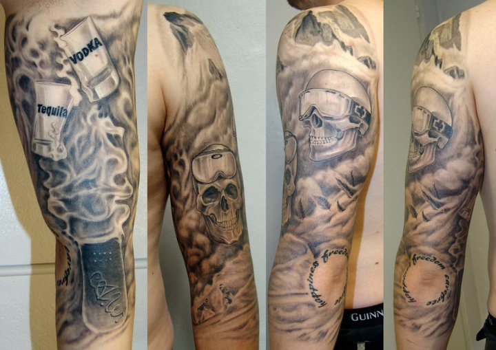 Arm skull tattoo by 2nd skin for Tattoo second skin