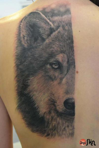 Realistic Back Wolf Tattoo By 2nd Skin