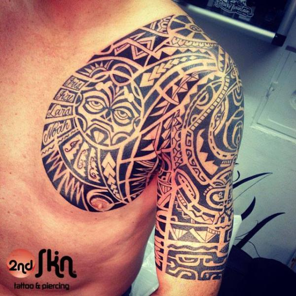 shoulder chest tribal maori tattoo by 2nd skin. Black Bedroom Furniture Sets. Home Design Ideas