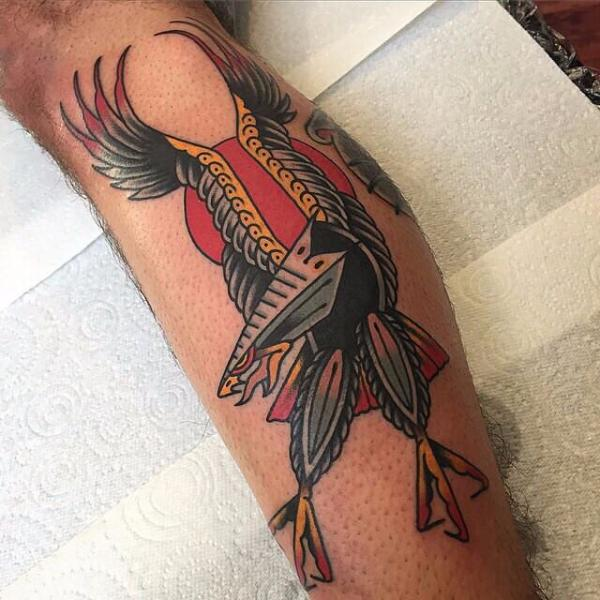 Calf Eagle Tattoo by Cloak and Dagger Tattoo