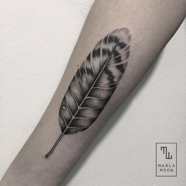 Arm Feather Dotwork Tattoo by Marla Moon
