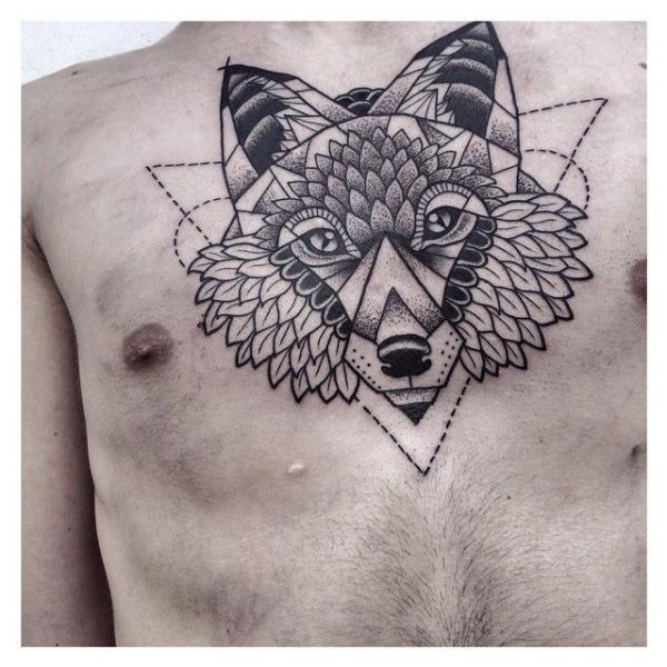 Chest Wolf Dotwork Tattoo by Zmierzloki tattoo