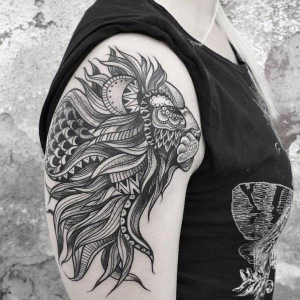 Shoulder Lion Dotwork Tattoo by Zmierzloki tattoo