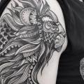 Shoulder Lion Dotwork tattoo by Zmierzloki tattoo