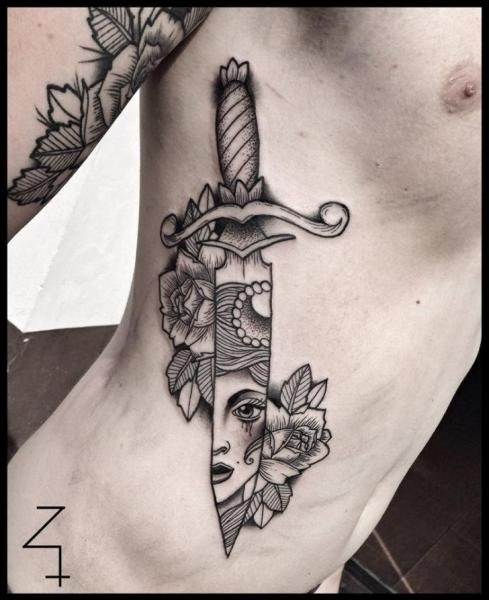 Side Dagger Dotwork Tattoo by Zmierzloki tattoo