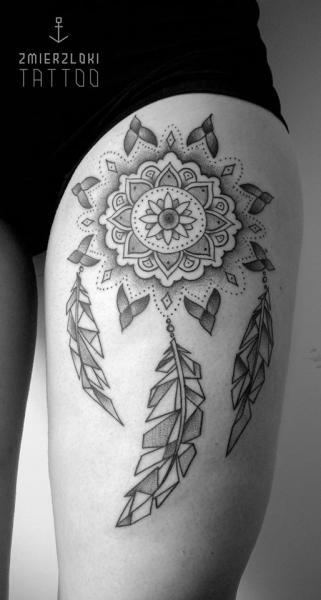 Leg Dotwork Dreamcatcher Thigh Tattoo by Zmierzloki tattoo