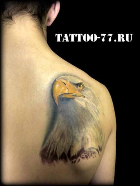 Realistic Back Eagle Tattoo by Tattoo-77