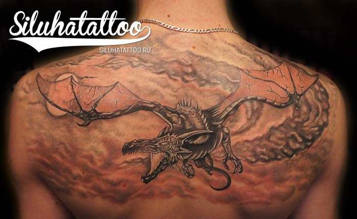 Fantasy Back Dragon Tattoo by Siluha Tattoo