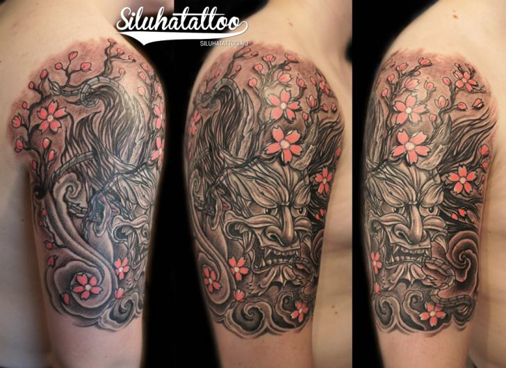 Shoulder Japanese Demon Tattoo by Siluha Tattoo