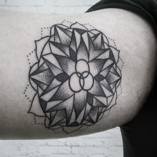 Arm Dotwork Geometric Tattoo by Luciano Del Fabro